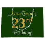 [ Thumbnail: Elegant, Green, Faux Gold 23rd Birthday + Name Gift Bag ]