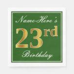 [ Thumbnail: Elegant Green, Faux Gold 23rd Birthday + Name Napkin ]