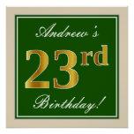 [ Thumbnail: Elegant, Green, Faux Gold 23rd Birthday + Name Poster ]