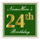 [ Thumbnail: Elegant, Green, Faux Gold 24th Birthday + Name Invitation ]