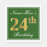 [ Thumbnail: Elegant Green, Faux Gold 24th Birthday + Name Napkin ]