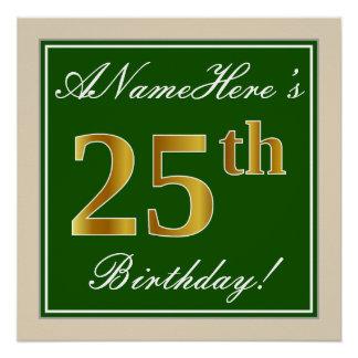 Elegant, Green, Faux Gold 25th Birthday + Name Poster