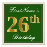 [ Thumbnail: Elegant, Green, Faux Gold 26th Birthday + Name Invitation ]