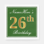 [ Thumbnail: Elegant Green, Faux Gold 26th Birthday + Name Napkin ]