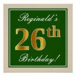 [ Thumbnail: Elegant, Green, Faux Gold 26th Birthday + Name Poster ]