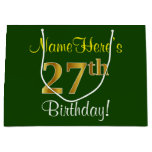 [ Thumbnail: Elegant, Green, Faux Gold 27th Birthday + Name Gift Bag ]