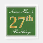 [ Thumbnail: Elegant Green, Faux Gold 27th Birthday + Name Napkin ]
