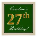 [ Thumbnail: Elegant, Green, Faux Gold 27th Birthday + Name Poster ]