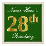 [ Thumbnail: Elegant, Green, Faux Gold 28th Birthday + Name Invitation ]