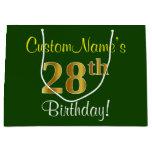 [ Thumbnail: Elegant, Green, Faux Gold 28th Birthday + Name Gift Bag ]