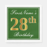 [ Thumbnail: Elegant Green, Faux Gold 28th Birthday + Name Napkin ]
