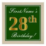 [ Thumbnail: Elegant, Green, Faux Gold 28th Birthday + Name Poster ]