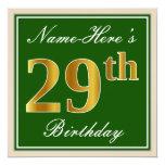 [ Thumbnail: Elegant, Green, Faux Gold 29th Birthday + Name Invitation ]