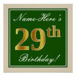 [ Thumbnail: Elegant, Green, Faux Gold 29th Birthday + Name Poster ]