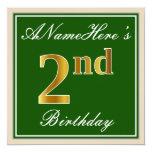 [ Thumbnail: Elegant, Green, Faux Gold 2nd Birthday + Name Invitation ]