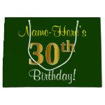 [ Thumbnail: Elegant, Green, Faux Gold 30th Birthday + Name Gift Bag ]