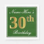 [ Thumbnail: Elegant Green, Faux Gold 30th Birthday + Name Paper Napkin ]