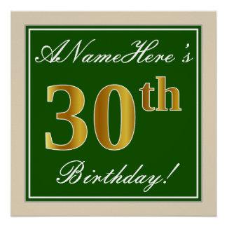 Elegant, Green, Faux Gold 30th Birthday + Name Poster
