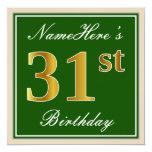 [ Thumbnail: Elegant, Green, Faux Gold 31st Birthday + Name Invitation ]