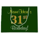 [ Thumbnail: Elegant, Green, Faux Gold 31st Birthday + Name Gift Bag ]