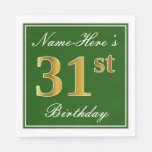 [ Thumbnail: Elegant Green, Faux Gold 31st Birthday + Name Napkin ]