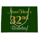 [ Thumbnail: Elegant, Green, Faux Gold 32nd Birthday + Name Gift Bag ]