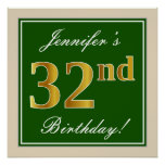 [ Thumbnail: Elegant, Green, Faux Gold 32nd Birthday + Name Poster ]