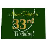 [ Thumbnail: Elegant, Green, Faux Gold 33rd Birthday + Name Gift Bag ]