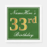 [ Thumbnail: Elegant Green, Faux Gold 33rd Birthday + Name Napkin ]