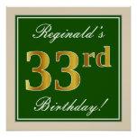 [ Thumbnail: Elegant, Green, Faux Gold 33rd Birthday + Name Poster ]