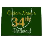 [ Thumbnail: Elegant, Green, Faux Gold 34th Birthday + Name Gift Bag ]