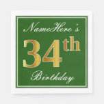 [ Thumbnail: Elegant Green, Faux Gold 34th Birthday + Name Napkin ]