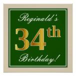 [ Thumbnail: Elegant, Green, Faux Gold 34th Birthday + Name Poster ]