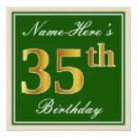 [ Thumbnail: Elegant, Green, Faux Gold 35th Birthday + Name Invitation ]