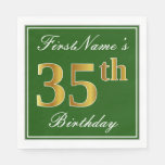 [ Thumbnail: Elegant Green, Faux Gold 35th Birthday + Name Napkin ]