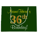 [ Thumbnail: Elegant, Green, Faux Gold 36th Birthday + Name Gift Bag ]