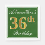[ Thumbnail: Elegant Green, Faux Gold 36th Birthday + Name Napkin ]
