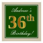 [ Thumbnail: Elegant, Green, Faux Gold 36th Birthday + Name Poster ]