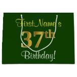 [ Thumbnail: Elegant, Green, Faux Gold 37th Birthday + Name Gift Bag ]