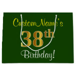 [ Thumbnail: Elegant, Green, Faux Gold 38th Birthday + Name Gift Bag ]