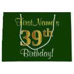 [ Thumbnail: Elegant, Green, Faux Gold 39th Birthday + Name Gift Bag ]