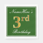 [ Thumbnail: Elegant Green, Faux Gold 3rd Birthday; Custom Name Paper Napkin ]