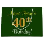 [ Thumbnail: Elegant, Green, Faux Gold 40th Birthday + Name Gift Bag ]