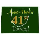 [ Thumbnail: Elegant, Green, Faux Gold 41st Birthday + Name Gift Bag ]