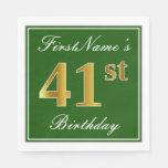 [ Thumbnail: Elegant Green, Faux Gold 41st Birthday + Name Napkin ]