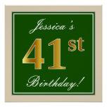 [ Thumbnail: Elegant, Green, Faux Gold 41st Birthday + Name Poster ]