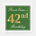 [ Thumbnail: Elegant Green, Faux Gold 42nd Birthday + Name Napkin ]
