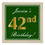 [ Thumbnail: Elegant, Green, Faux Gold 42nd Birthday + Name Poster ]