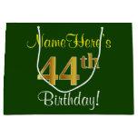[ Thumbnail: Elegant, Green, Faux Gold 44th Birthday + Name Gift Bag ]