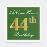 [ Thumbnail: Elegant Green, Faux Gold 44th Birthday + Name Napkin ]